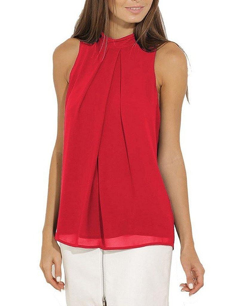 Bigood Top sans Manche Femme T-Shirt Chemise Blouse Mousseline de Soie Col Rond Chemisier
