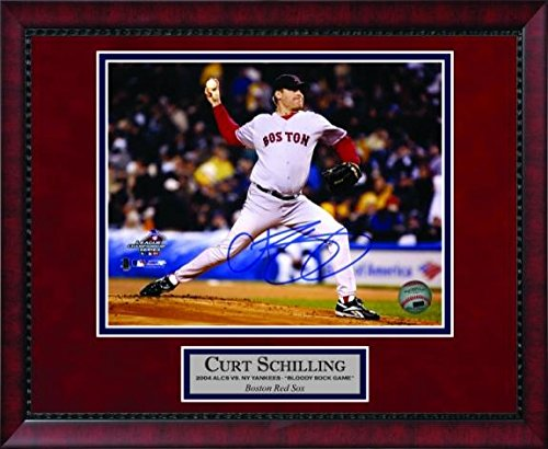 Curt Schilling Autographed Photo Framed - Bloody Sock Game 2004 - 11x14 - Autographed MLB (Curt Schilling Framed Photo)