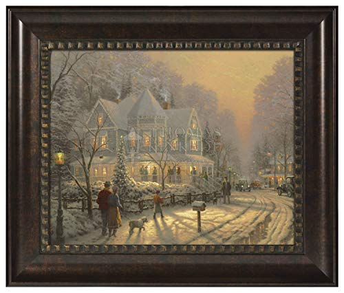 Thomas Kinkade A Holiday Gathering 22 x 26.5 Brushstroke Vignette (Rich Burl - Paintings Christmas Thomas Kinkade