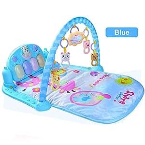 Baby Play Musical Mat Bebé pie Piano Música Alfombra de juegos 3 en 1 juego Alfombras Alfombra bebé gimnasio alfombra Educación accesorio de teclado musical Juego Manta (Azul)