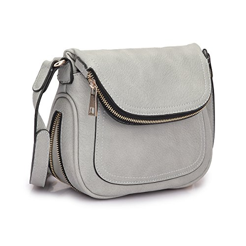 Lady Lightweight Crossbody Bags for Women Small Crossbody Purses Travel Bags Soft Shoulder Bags Vegan Leather (Crossbody Purse Grey)