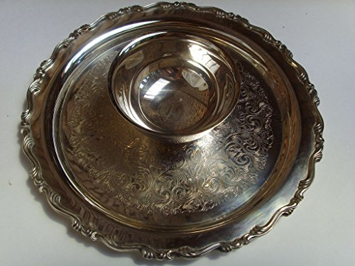 (Wm. A. Rogers Silver Plated Serving Tray Chip & Dip Bowl 12