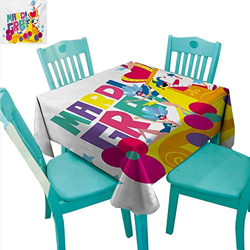 Mardi Gras Elegance Engineered Christmas Tablecloth Festival Parade Theme Dancers in Costumes Colorful Dots Stars Abstract Design for Kitchen Dinning Tabletop Decoration 50
