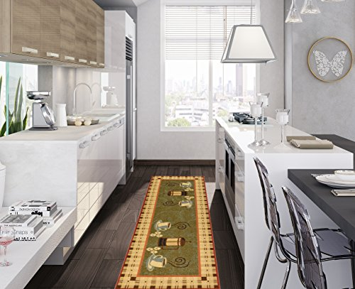 Ottomanson Siesta Collection Kitchen Coffee Cups Design (Non-Slip) Runner Rug, 20'' x 59'', Dark Olive Green by Ottomanson