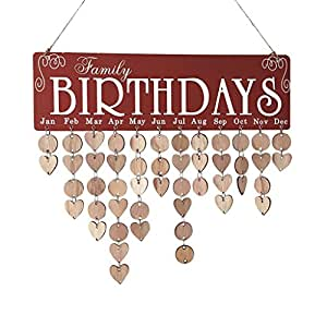 Inverlee Wood Birthday Reminder Board Birch Ply Plaque Sign Family &Friends Creative DIY Calendar (Red)