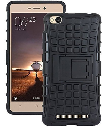 official photos 81a18 c420c Mi Redmi 5A Dual Layer Tough Rugged Shockproof Hybrid Warrior Armor Case  Back Cover With Kickstand- Black