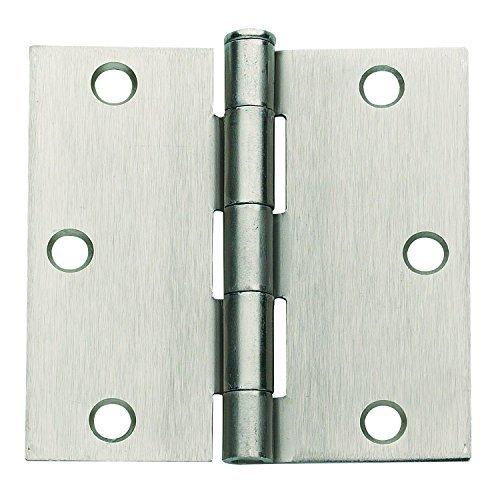 Global Door Controls 3.5 in. x 3.5 in. Satin Nickel Plain Bearing Steel Hinge - Set of 2 by Global Door Controls (Hinges Bearings Steel)