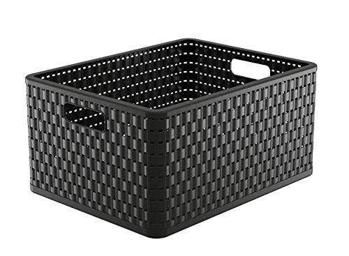 Rotho 1166808080 Aufbewahrungskiste Dekobox Country in Rattan-Optik aus Kunststoff (PP), Inhalt circa 28 L, Format A4+, circa 43 x 33 x 21,5 cm, schwarz