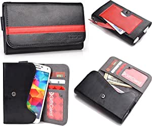 Black Red Mens | Womans Wallet Phone Duo Fits Allview P5 Mini +NuVur KeyChain ESMLGPK1