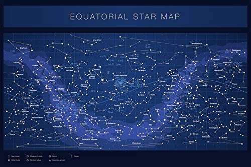 Higly Detailed Equatorial Star Map Poster - Constellations with Star Names - Wall Art Print for School Home Office Classroom Decor - Blue - 32X48 inches