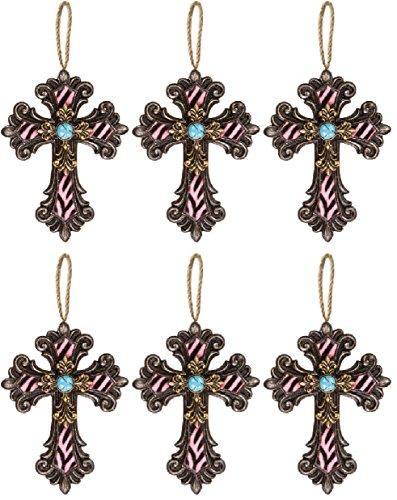 (Manual Woodworkers & Weavers Divine Zebra Cross DÃcor/Ornaments, 6.5-Inch, Pink, Set of 6)
