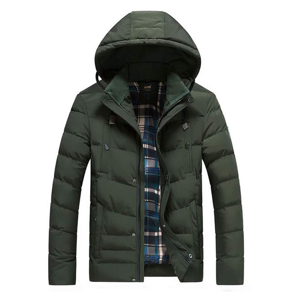 Darkvert L PPZQWQ Hommes Blousons Coton Manteaux épais, Hiver Etanche Mode chaude et coupe-vent Décontracté Capuche, Court paragraphe (XL-4XL)