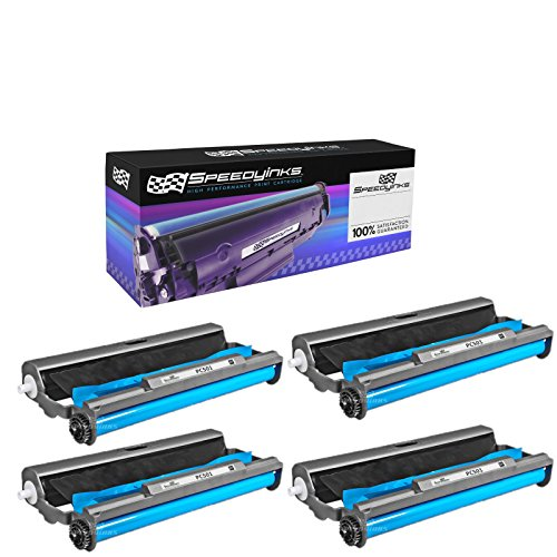 Film Ribbon Fax Cartridge Transfer - Speedy Inks - 4 Pack PC501 Compatible with Brother Fax Cartridge with Roll for use in Brother FAX 575 Fax printers