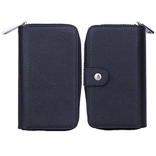 """iPhone 6 Plus Case (5.5""""), G-i-Mall [Purse Series] Book Cover Purse Cover Black Premium PU Leather Zipper Case Magnet Knocked-down Case with Stand Flip Cover for iPhone 6 Plus (5.5)"""