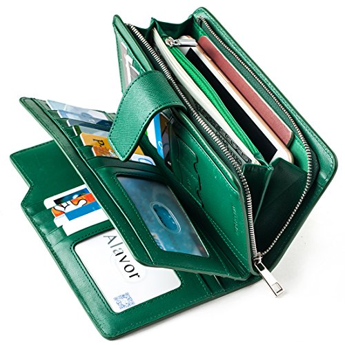 Italian Leather Clutch Wallet (Alavor Woman RFID Blocking Trifold Wallet Long Clutch Credit Card Organizer Purse (Green))
