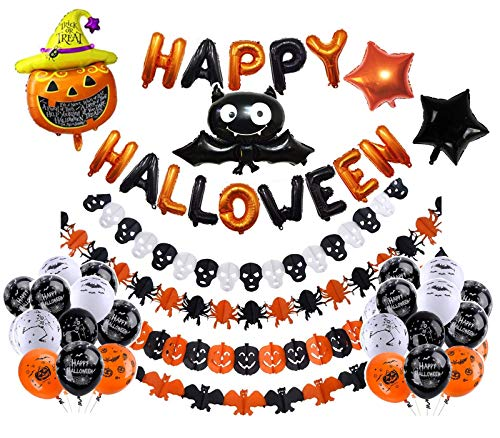 Halloween Balloon Games - LEWOTE Halloween Balloons Banner Kit[42 Pcs