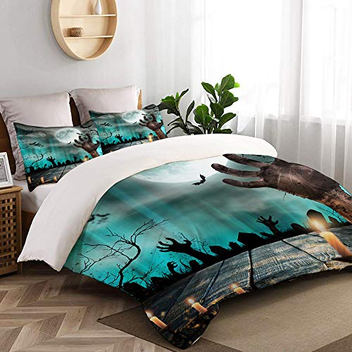 CANCAKA Blue Apocalypse Spooky Halloween Old Trees Silhouettes and Zombie Hand Orange Studio Single Apartment Decorate Decorative Custom Design 3 PC Duvet Cover Set Queen/Full]()