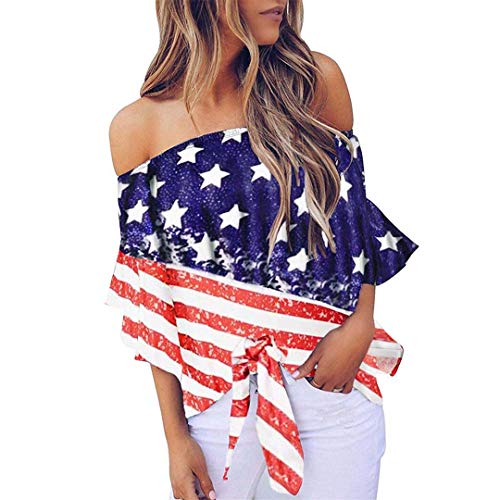 XVSSAA Women's One-Shoulder Short-Sleeved T-Shirt, American Flag Print Strapless Splicing Hem Tie Knotted Tops ()