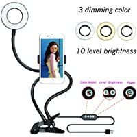 Velouer Selfie Ring Light (3 Color 10 brightness) with Clip Cell Phone Holder for Live Stream,Video Chat,360 Rotating Long Arms Lazy Bracket for iphone 7,6/plus,Samsung,HTC,LG,HUAWEI and Others Black