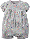 Carters Baby Girls Snap-Up Cotton Romper Multi Heart Grey 9M