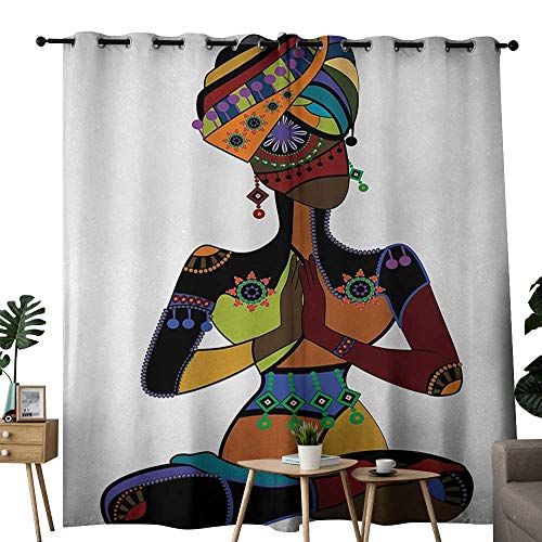 NUOMANAN Curtains 63 inch Length Yoga,Woman Figure in Ethnic Style Costume Praying Culture Religion Enlightenment Grace,Multicolor,Insulating Room Darkening Blackout Drapes for Bedroom 100