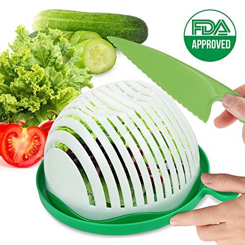 SIMPLE SALAD MAKER   Salad Chopper Bowl   Salad Cutter Bowl Set by SL Simple Life   Make Veggie or Fruit Salad Easily   Plastic Knife Included for Easy Slicing