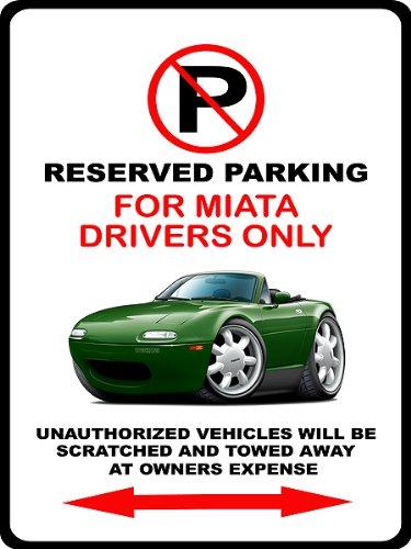 Parking Sign Maroon (1990-98 Mazda Miata Exotic Car-toon No Parking Sign)