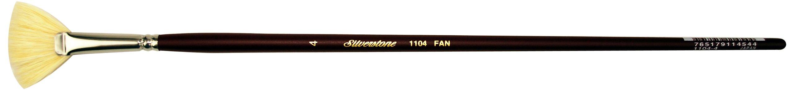 Silver Brush 1104-4 Silverstone Excellent Long Handle Hog Bristle Brush, Fan, Size 4