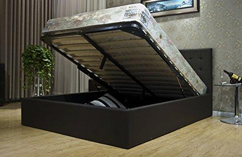 Greatime BS1111-2 Eastern King Dark Brown Leatherette Storage Bed, Regular King Size