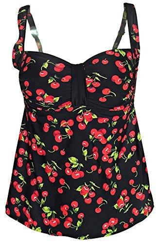 Gabrielle-Aug Women's Vintage Floral Cherry Print Tankini Top Swimsuit(FBA) (10, Cherry)