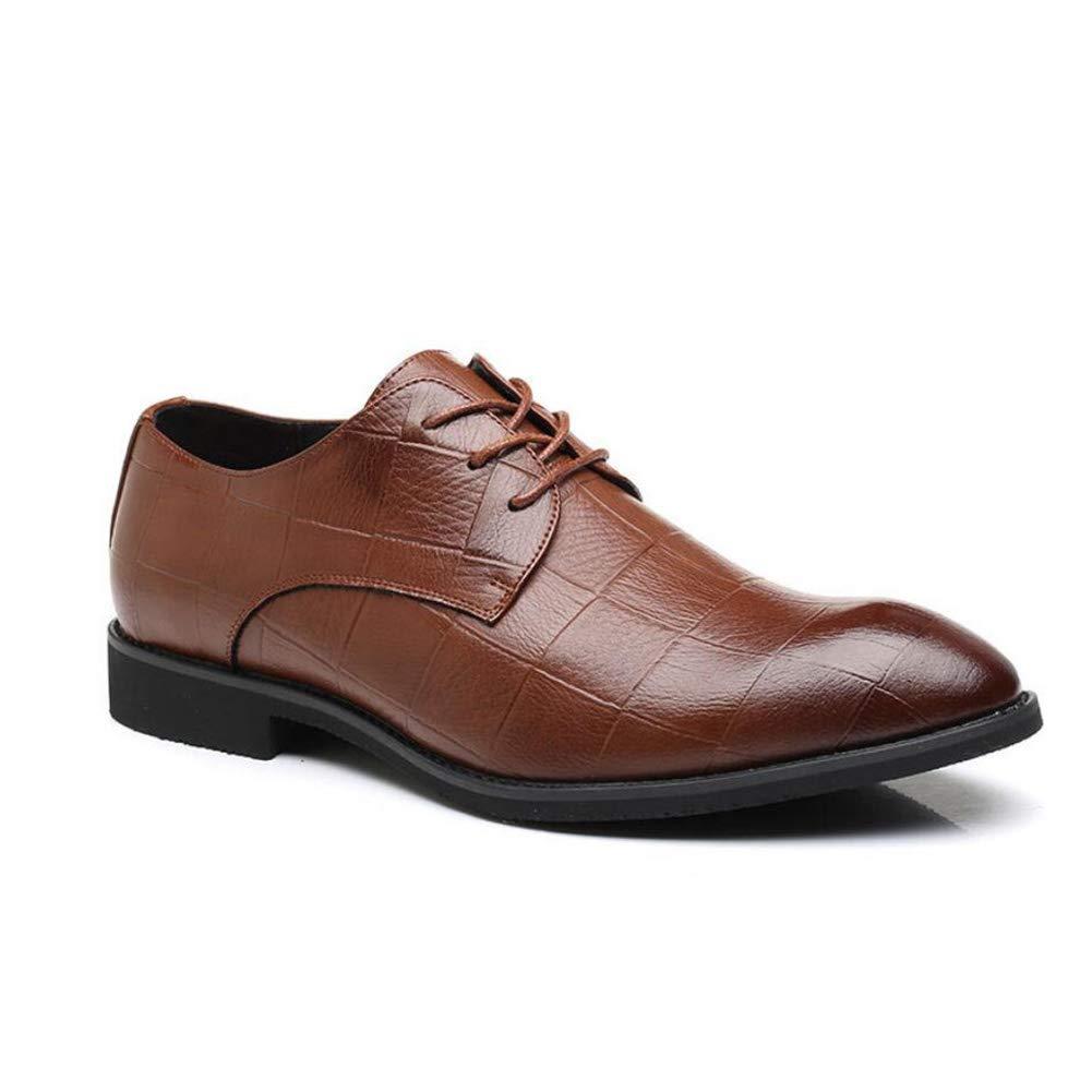 2018 Herren Lederschuhe, Frühling Herbst Spitz Schuhe, Lace up Formale Business Schuhe, Koreanische Version der Atmungsaktive Schuhe, Plaid Schuhe (Farbe   B, Größe   38) ( Farbe   B , Größe   38 )