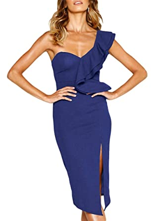 46681bc77 QUEENIE VISCONTI Women Semi Formal Party Dress -Off The Shoulder Asymmetric  Ruffled Slit Midi Dresses