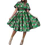 Mfasica Women Dashiki Batik Pleated Big Pendulum African Club Party Dress 15 3XL