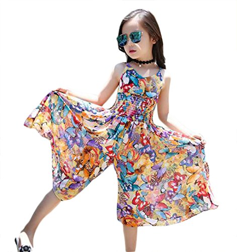 Bohemian Style Kid Girl Summer Chiffon Beach Skirt Pants Jumpsuit Floral Dress,Multicolor,7-8 Years