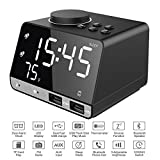 Srocker Digital Alarm Clock with Wireless Bluetooth Speaker, Dual Port USB Charger, FM Radio, Thermometer, LED Dimmer Display for Heavy Sleepers, Bedrooms, Kitchen, Table, Backup Battery (CR2030)