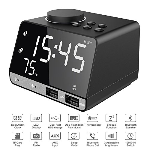 Thpoplete 4.2 Inch Digital Alarm Clock, Bluetooth Speaker with Dual Port USB Charger, FM Radio, Snooze, AUX TF Card Play, Thermometer, Large Dimmable LED Display for Bedroom, Bedside and Office
