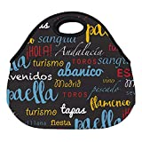 DKISEE Spanish Words Pattern Large & Thick Neoprene Lunch Bags Insulated Lunch Tote