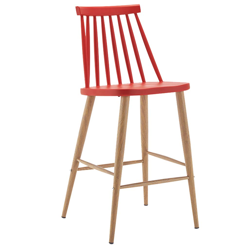 Red High Stool Simple Style Metal Legs Design Kitchen Restaurant Bar Breakfast Stool Chair Stool with Backrest (Sitting Height  75CM) (color   Green)