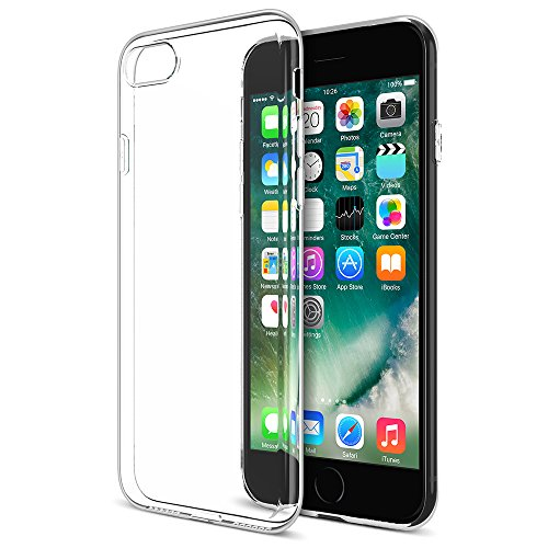 iPhone 7 Case, Maxboost [Liquid Skin] Extreme Thin Case for Apple iPhone 7 2016-0.4mm Ultra Clear Soft Flexible Gel TPU Transparent Skin Scratch-Proof Bumper Cases - Ultra Clear