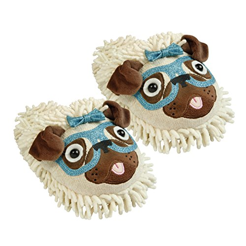 Aroma Home Shoes Fuzzy Friend Dog With Glasses, Damen Flache Hausschuhe, Mehrfarbig (Multicolor), 40.5 EU