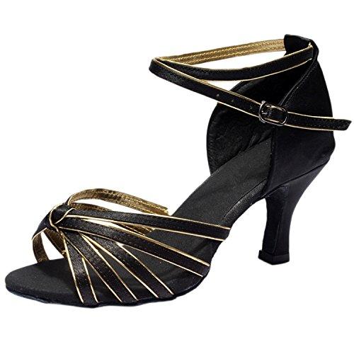 Negro amp;Dorado Mujer Latín Zapato Tacón Baile Alto de Correa Puntera Abierta de Azbro Cruzada con OdTqw6T