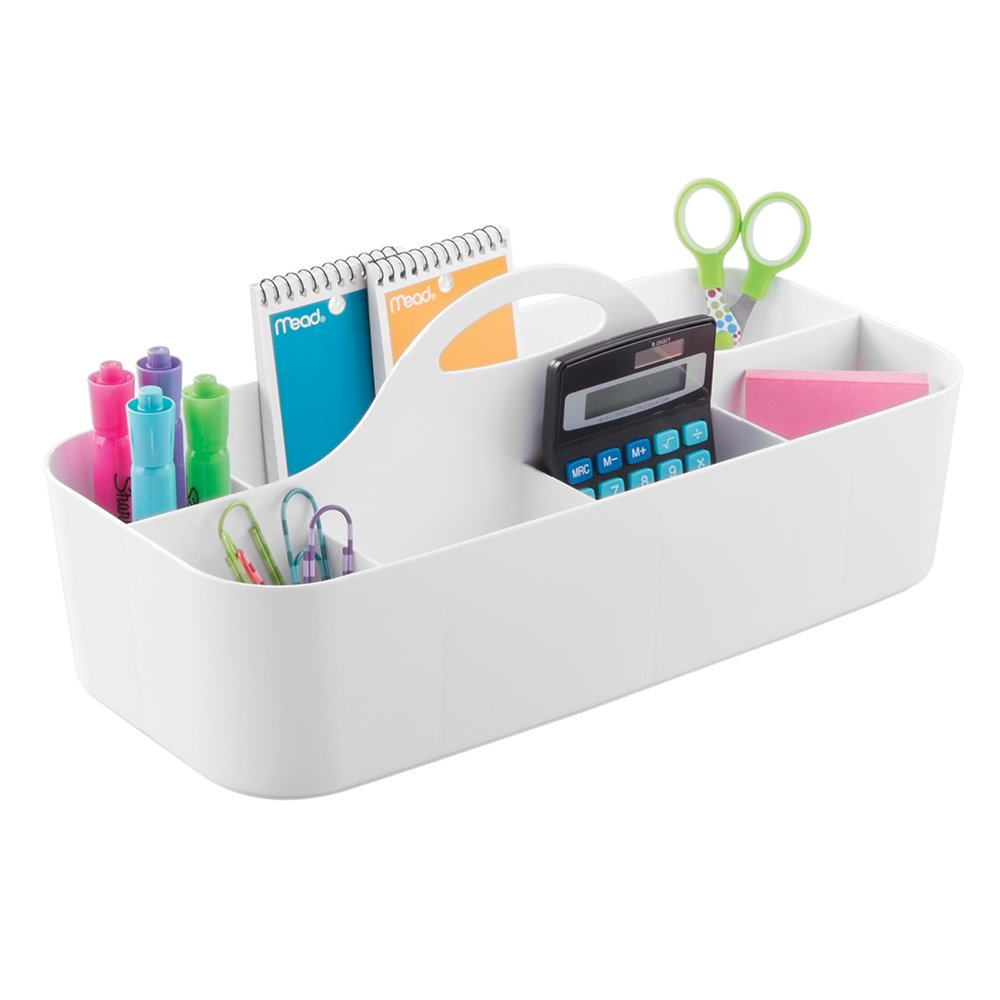 mDesign Large Office Caddy Storage Container & Organizer Tote with Built-in Handle for Gel Pens, Pencils, Markers, Erasers, Staplers - White