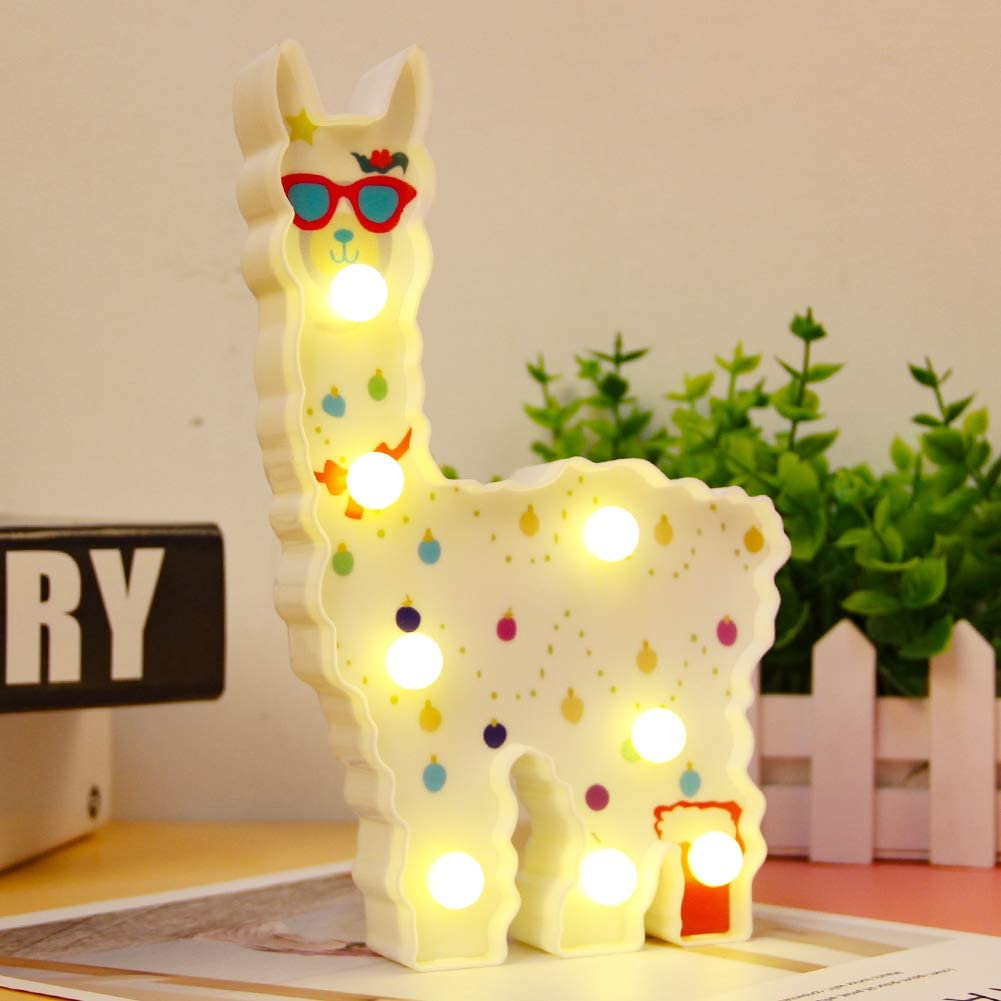 Alpaca Toys LED Night Lighting Children Wall Decor for Shelf Living Room,Bedroom,Home Gifts Llama Lamp (Battery Operated) (White Llama Glasses)