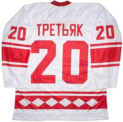 Vladislav Tretiak CCCP Russian 1980 White Hockey Jersey (48 (Large))