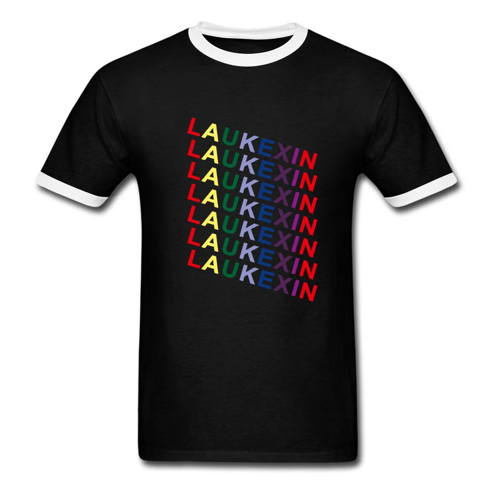 LAUKEXIN Rainbow Letter Printed T Shirt Black Ringer White Sleeve Top Tees