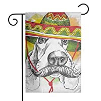 GDjiuzhang Cool Portrait Dog Basset Hound Mustache in Mexico Sombrero Funny Hat Mexican Home Garden Flag - Premium Material Yard Decoration& Outdoor Decoration 12x18 Inches