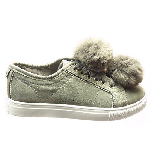 Angkorly - Scarpe da Moda Sneaker donna pon pon Tacco tacco piatto 2.5 CM - Grigio