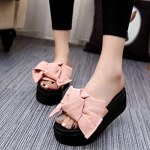 GTVERNH-Geschlitzte Hausschuhe weiblichen Dicken kühl im und Sommer und im Biskuit mit weiblichen Schuhe Tide Schuhe Freizeitschuhe Wild Pink 6db574
