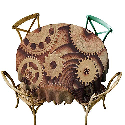 Sunnyhome Round Outdoor Tablecloth Industrial Inside The Clocks Theme Gears Mechanical Copper Device in Steampunk Style Print Cinnamon for Events Party Restaurant Dining Table Cover 70 INCH