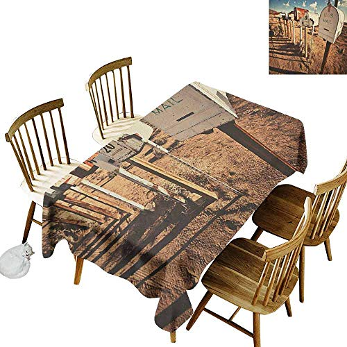 - DONEECKL United States Soft Fabric Tablecloth Quick Wipe Old Mailboxes in West America Rural Rusty Landscape Grunge Countryside Brown Blue White W54 xL72